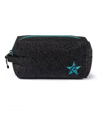 black and teal makeup bag, called Imagine Makeup Bag with Teal Zipper by Rebel Athletic