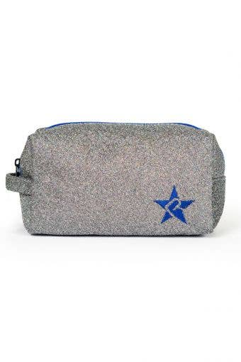 grey and blue makeup bag called Moonstruck Makeup Bag with Blue Zipper by Rebel Athletic