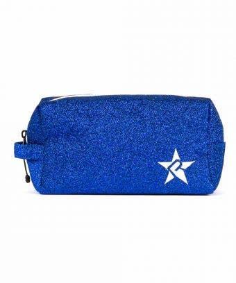 blue makeup bag - glitter blue