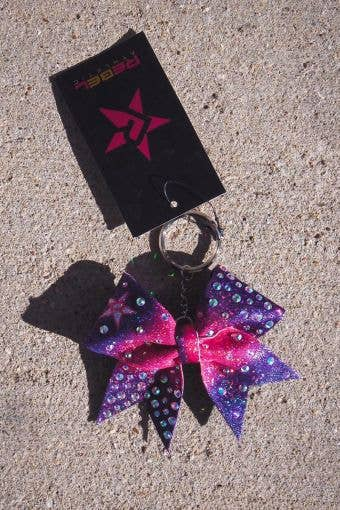 Bow Keychain w Crystals in Gradient Pink & Purple - Cheer Bow Keychain