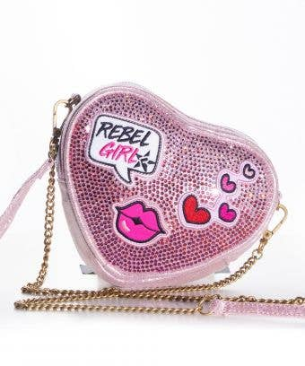 XOXO Rebel Heart Crystal Crossbody with Patches - FINAL SALE