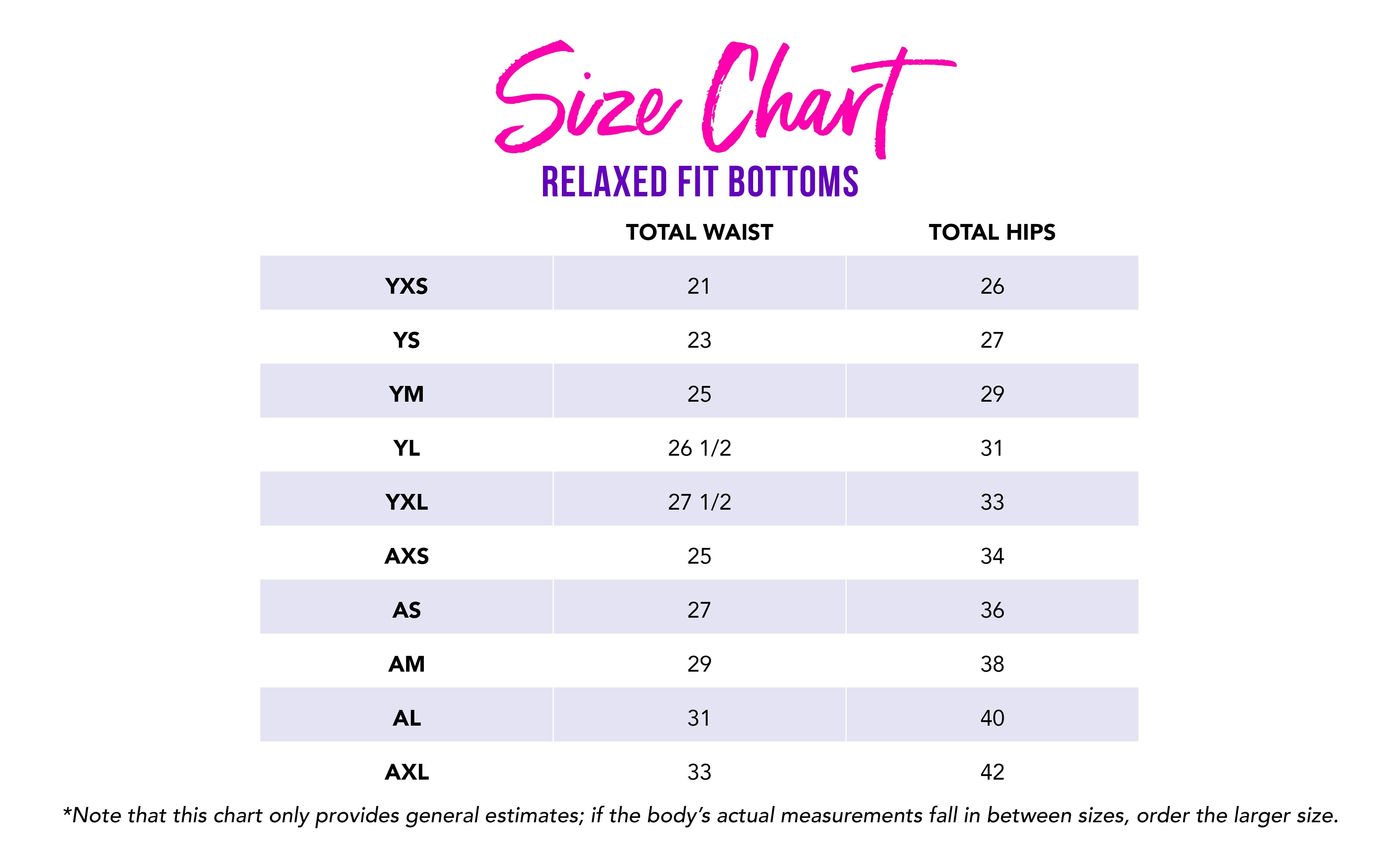 Girls and Women's Size Chart