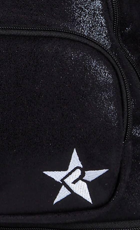 black suede backpack fabric details