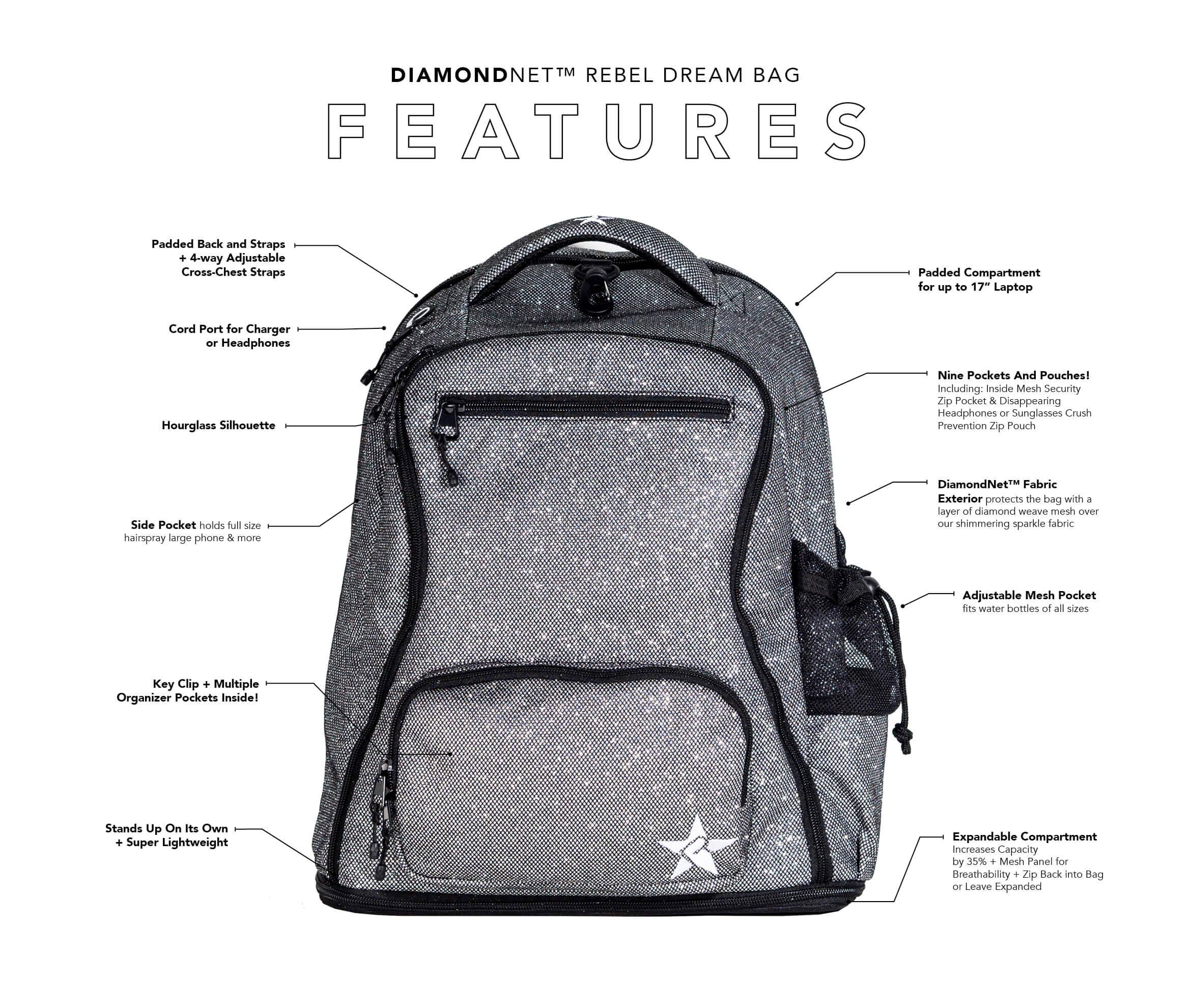 teal diamondnet backpack main features