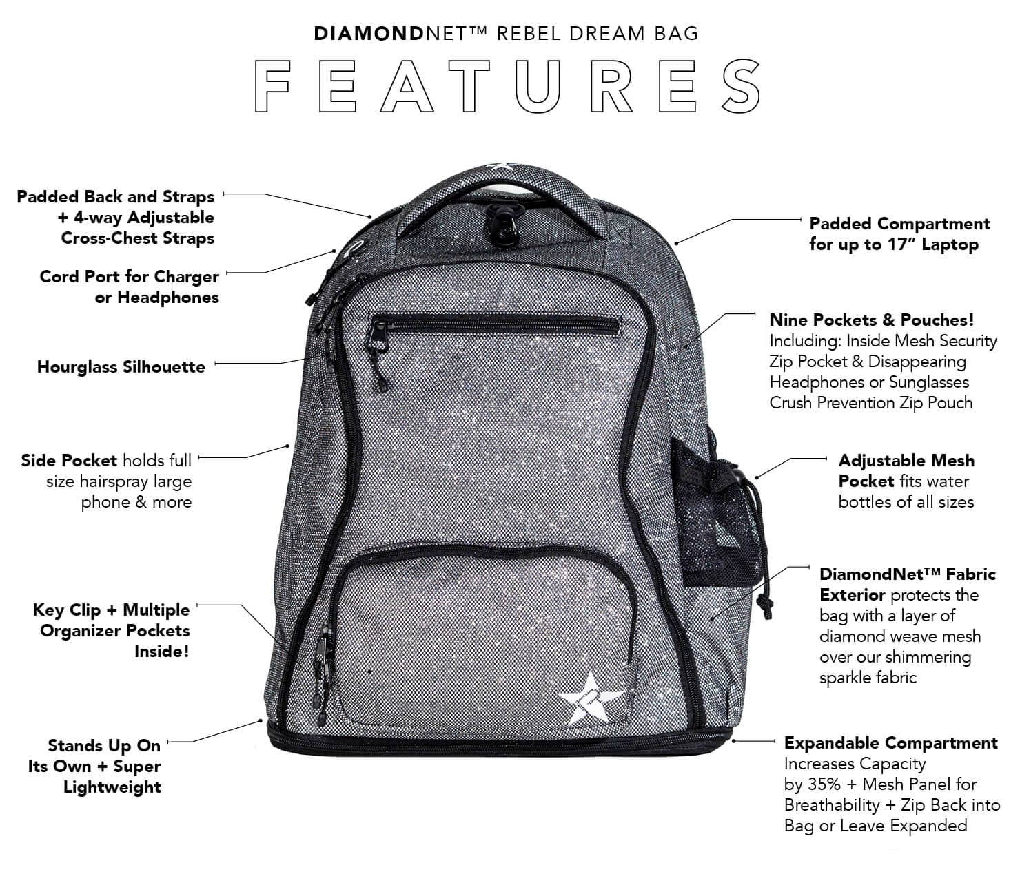 pink sparkle backpack main features