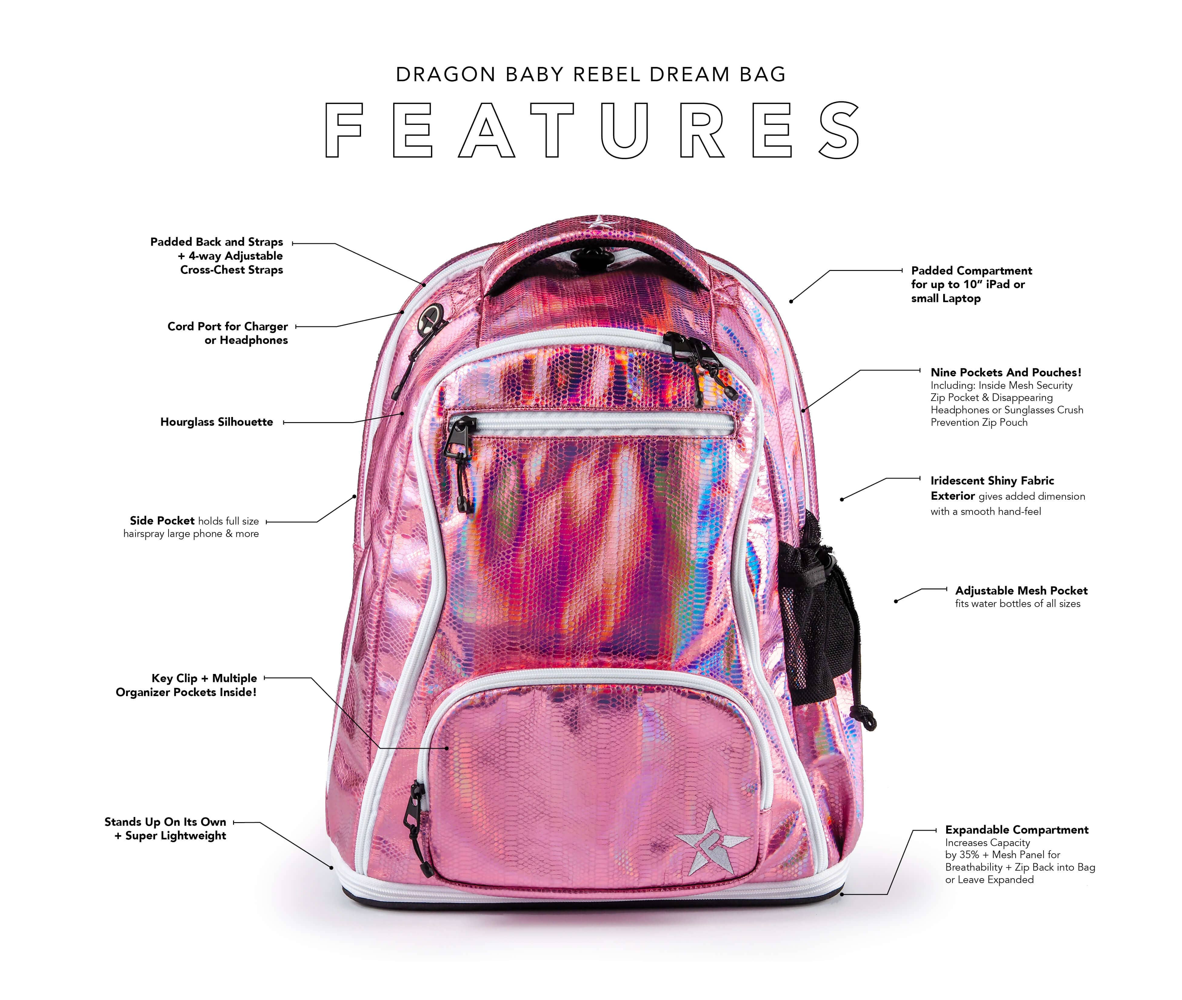 pink mini backpack main features
