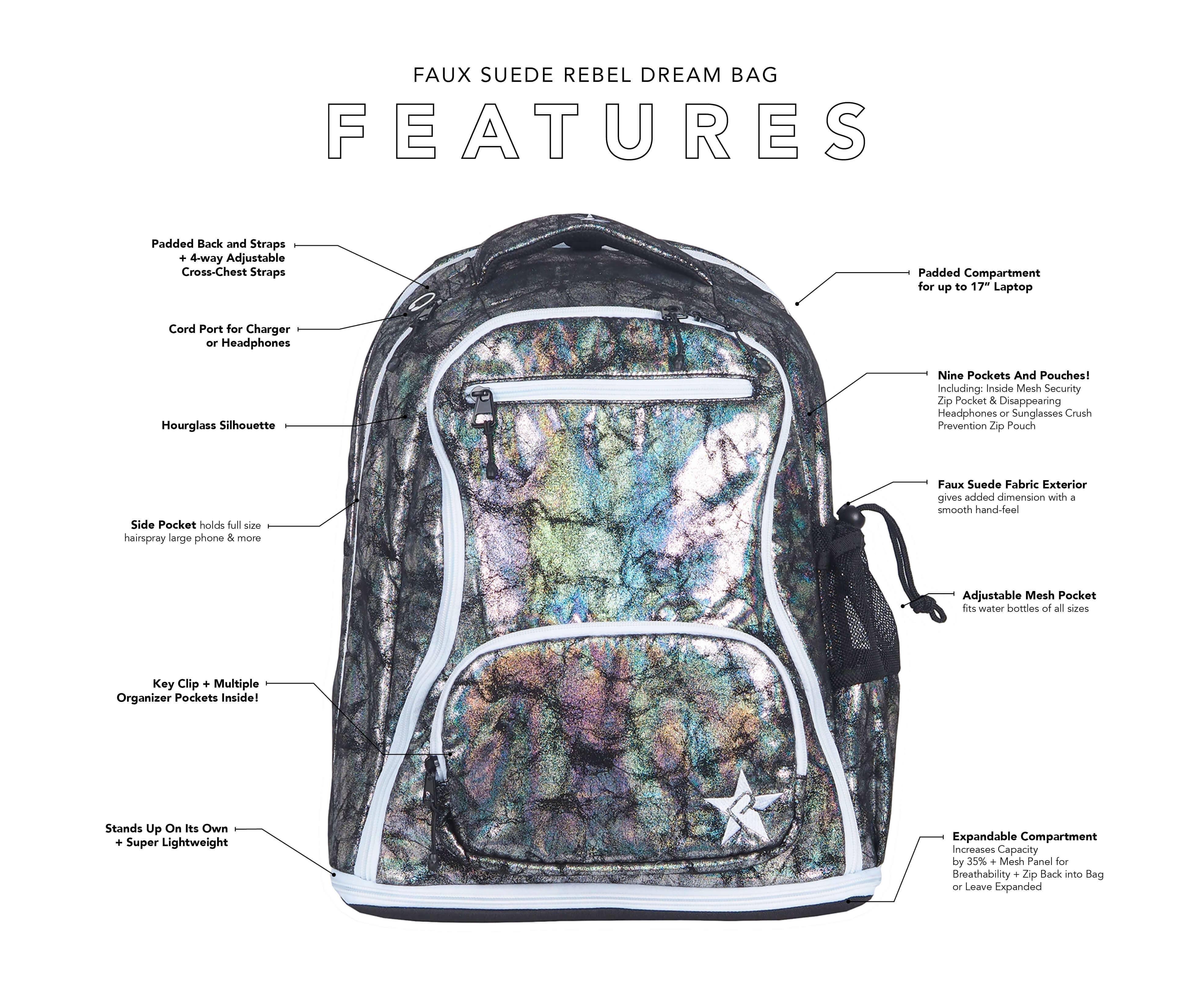 dark purple backpack key features