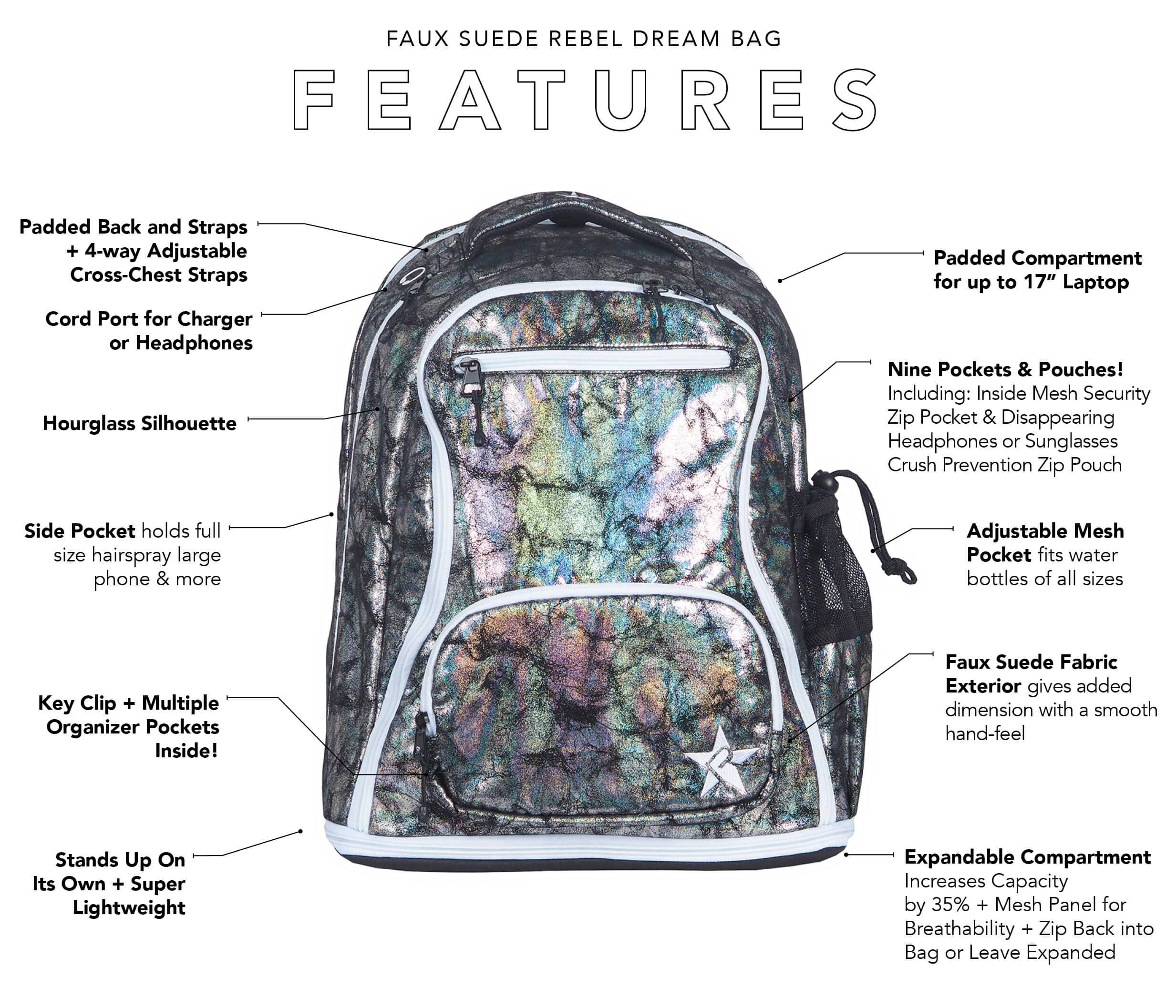 black faux suede rebel dream bag main features
