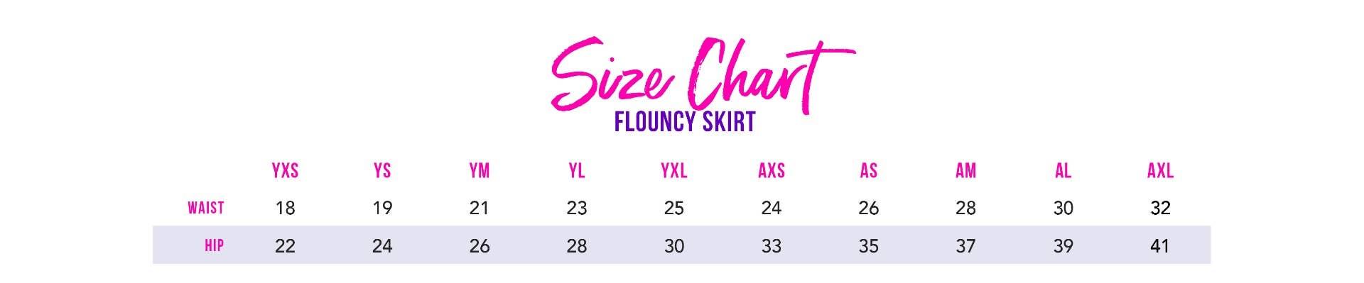 Flouncy Skirt Size Chart