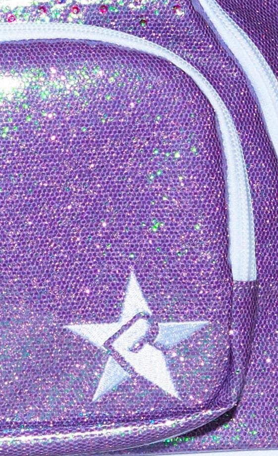 glossy purple cheer bag fabric details