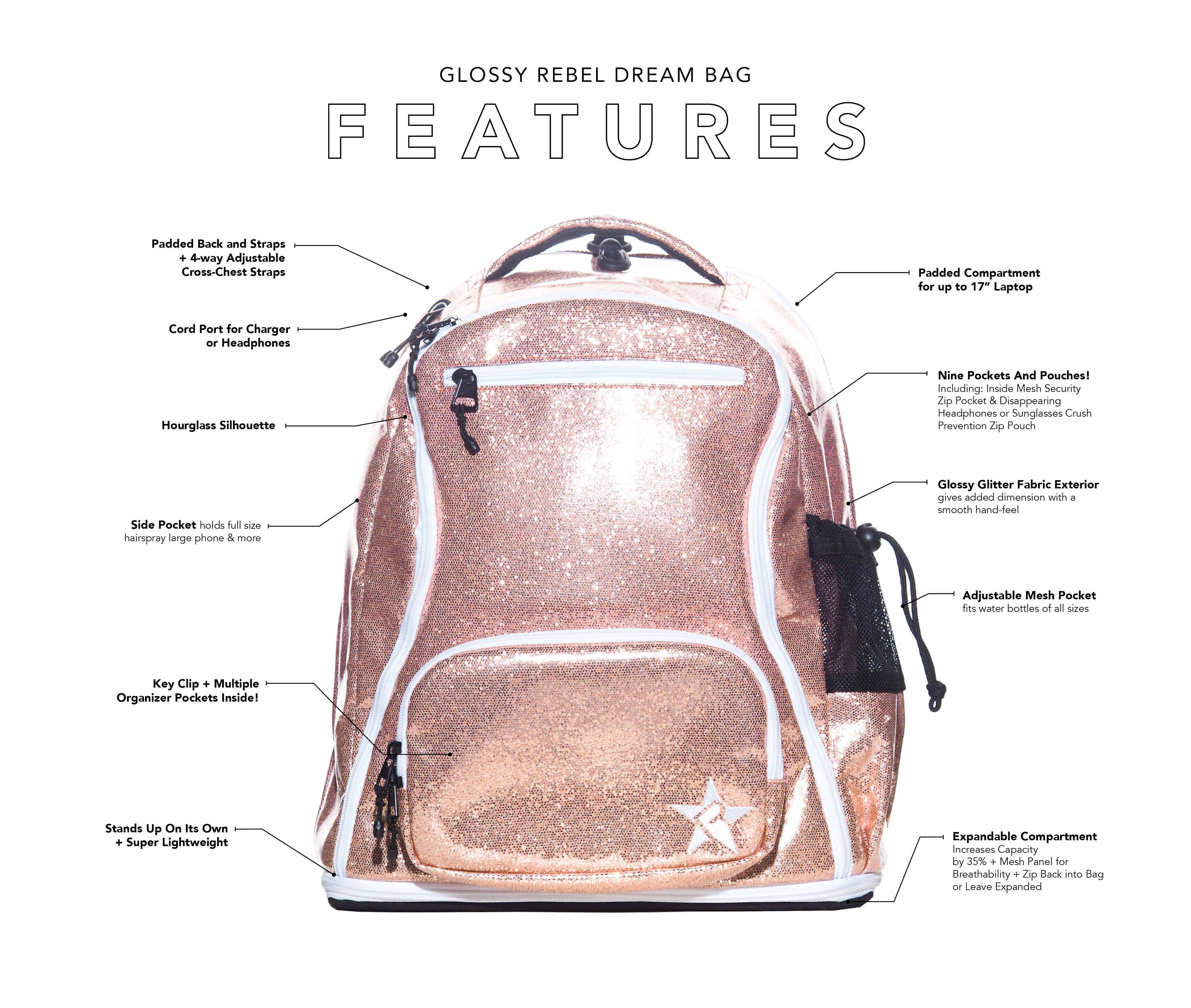 teal backpack main features