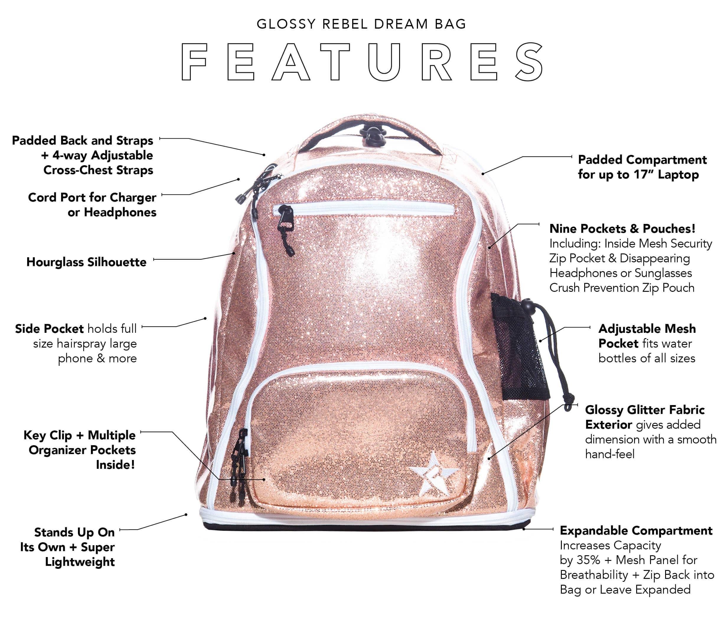 rose gold school bag main features