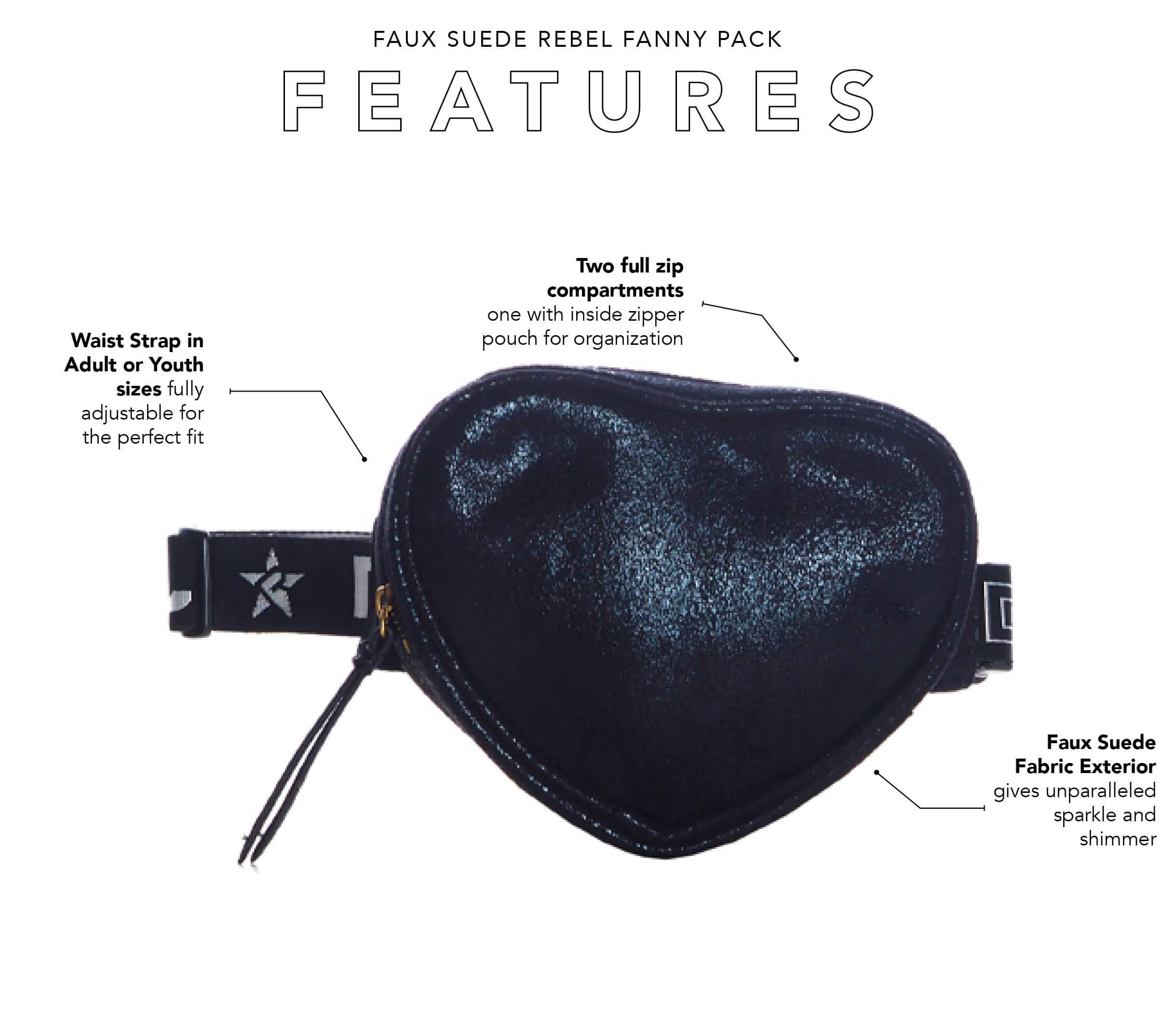 cute black fanny pack main features