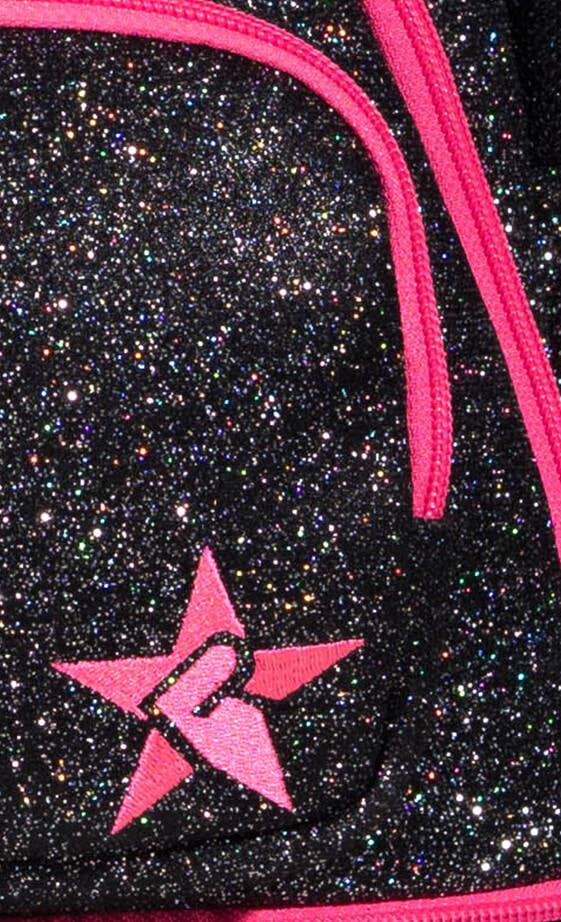 black and pink cheer bag fabric details