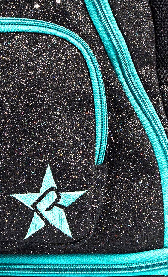 black and teal mini cheer bag fabric details