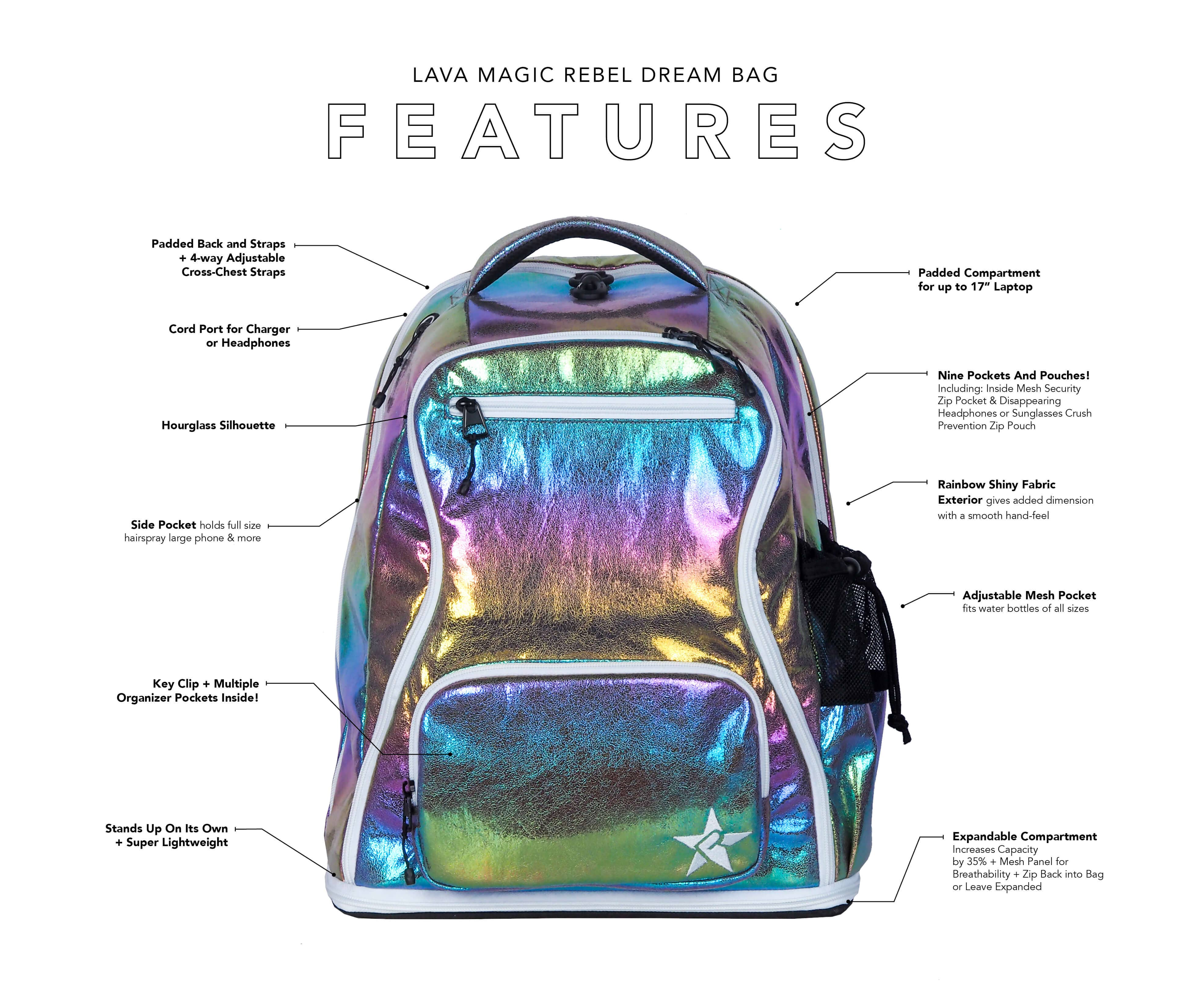 rainbow backpack main features