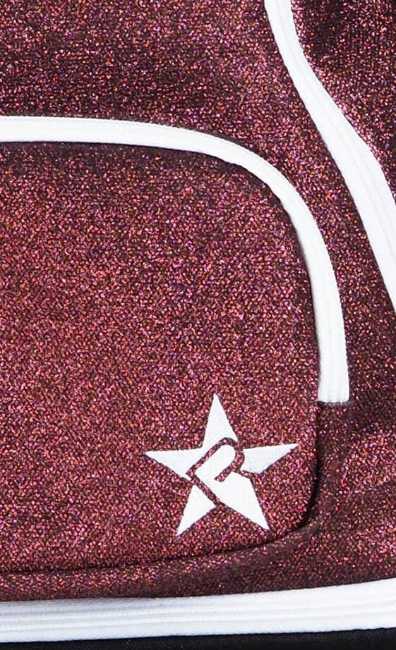maroon mini backpack fabric details