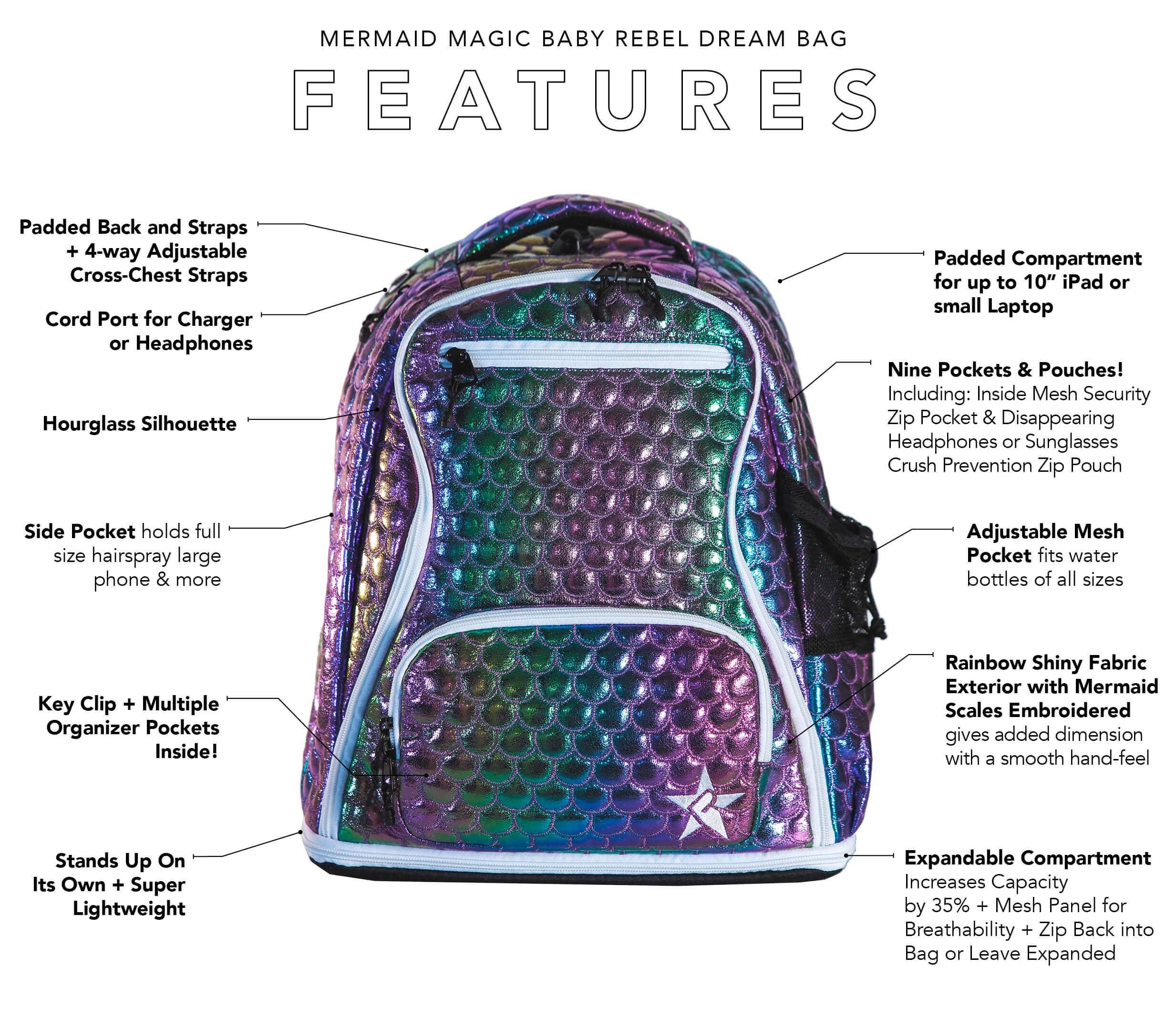 girls mermaid mini cheer bag main features