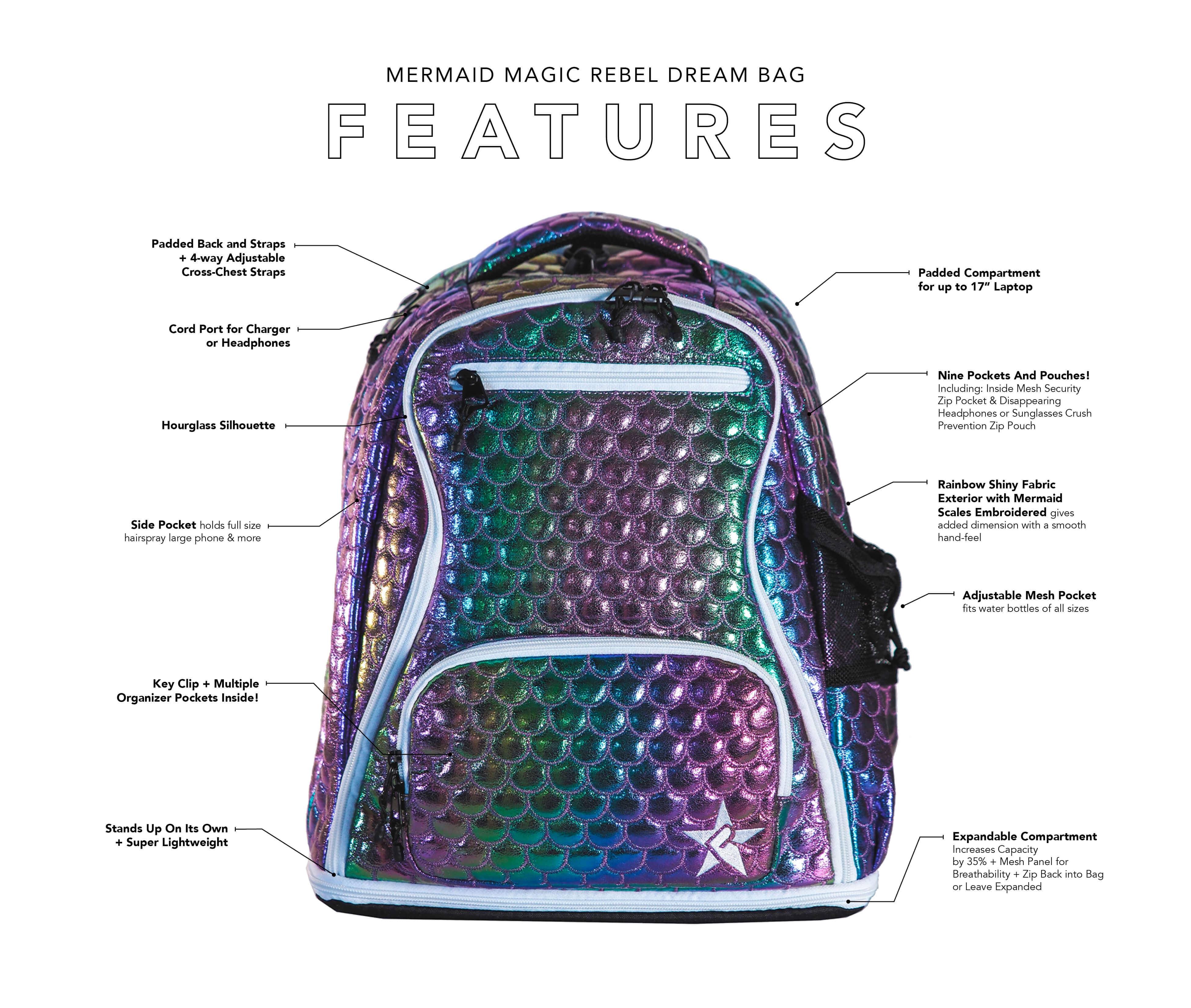 mermaid magic cheer bag main features