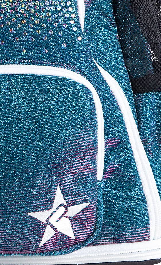 blue green cheer bag fabric details
