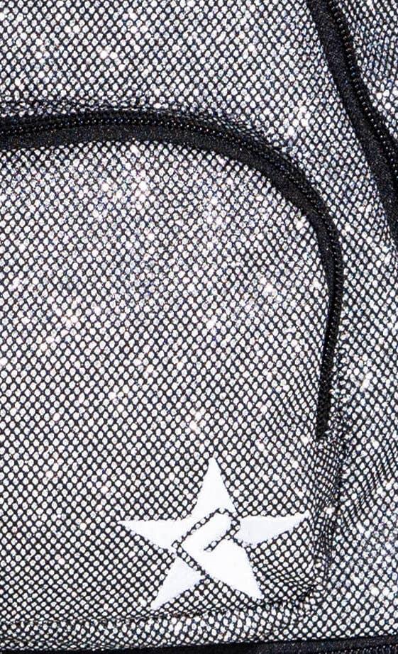 dark grey cheer bag fabric details