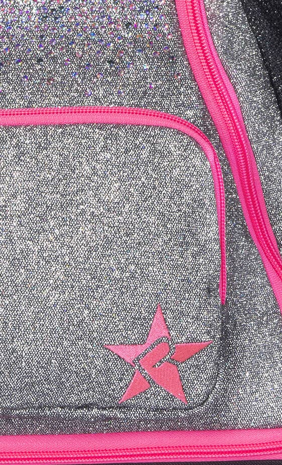 grey pink backpack fabric details