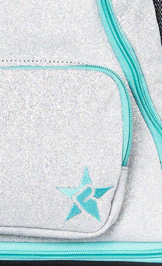 light grey and teal cheer bag fabric details
