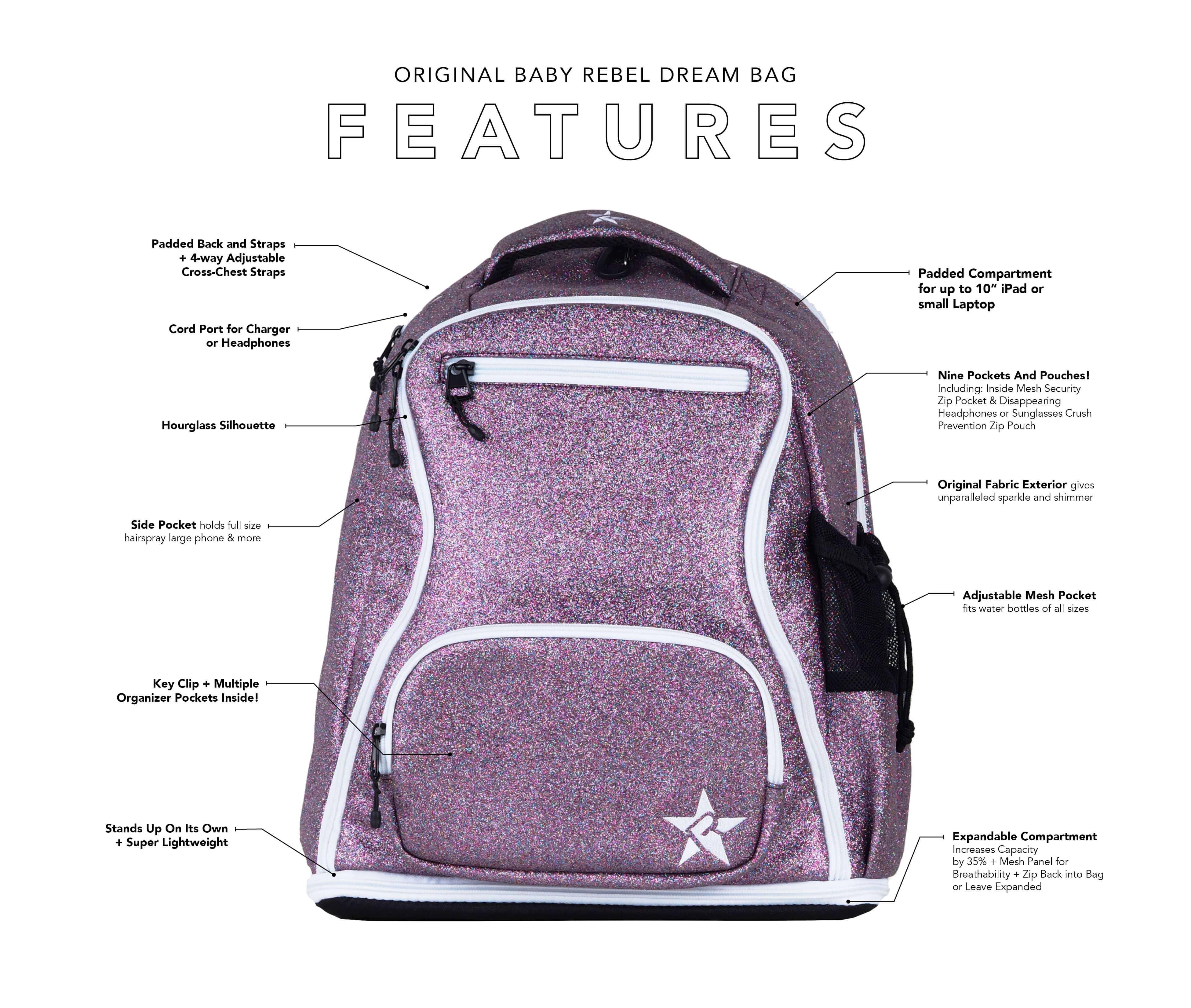maroon mini backpack main features
