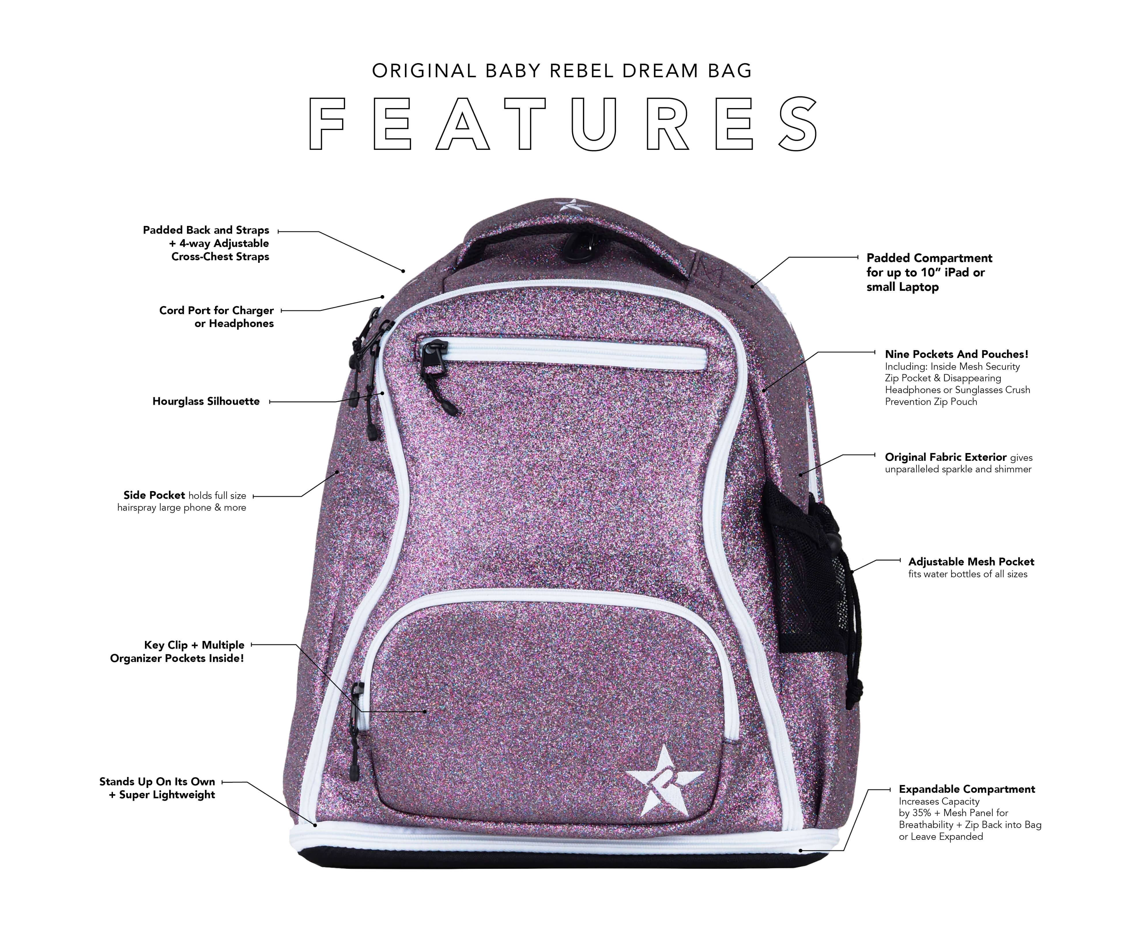 black and teal mini cheer bag main features