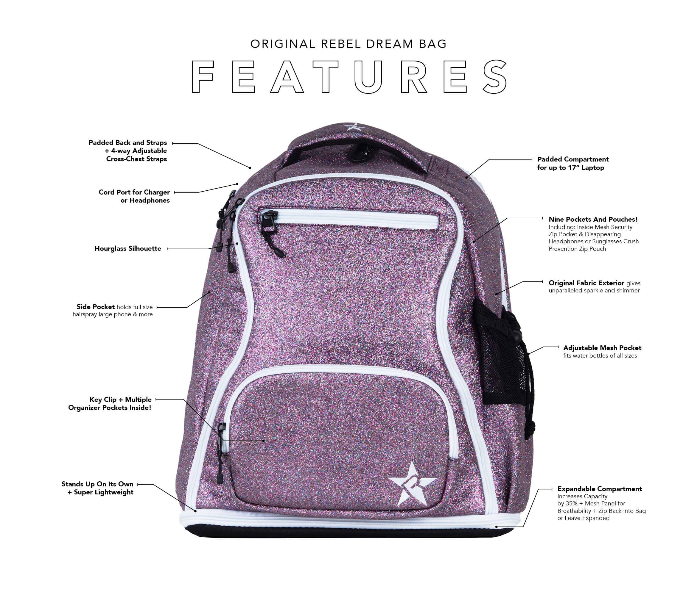 teal white cheer bag main features