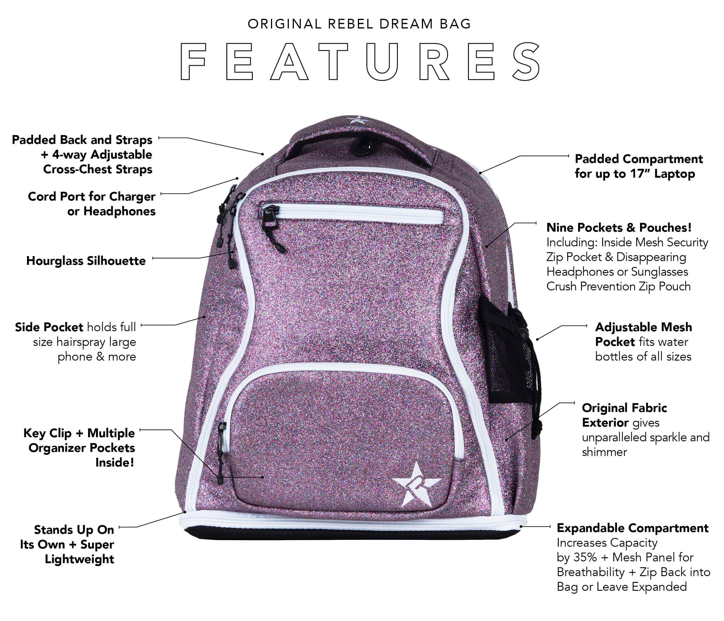 light grey and teal cheer bag main features