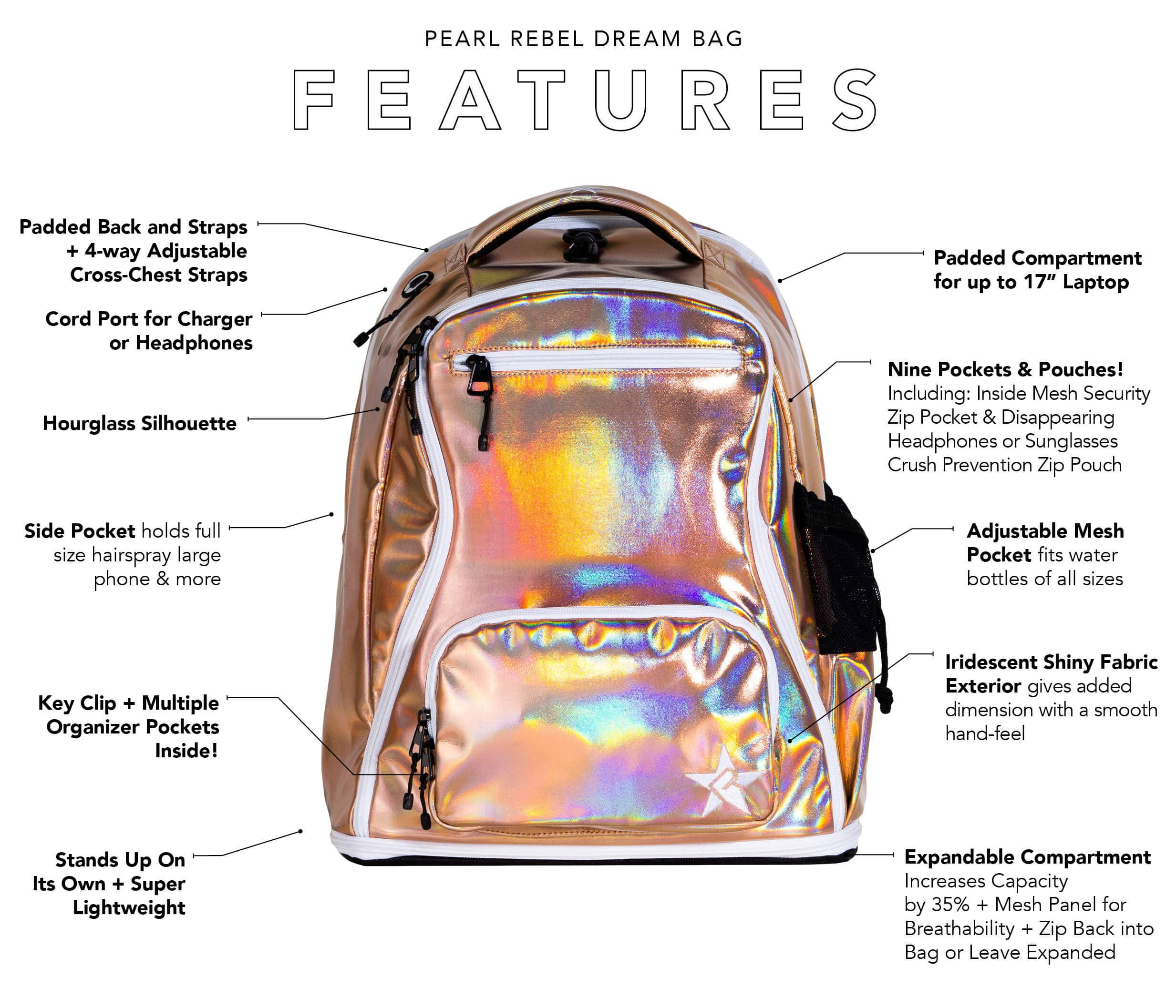 iridescent backpack main features
