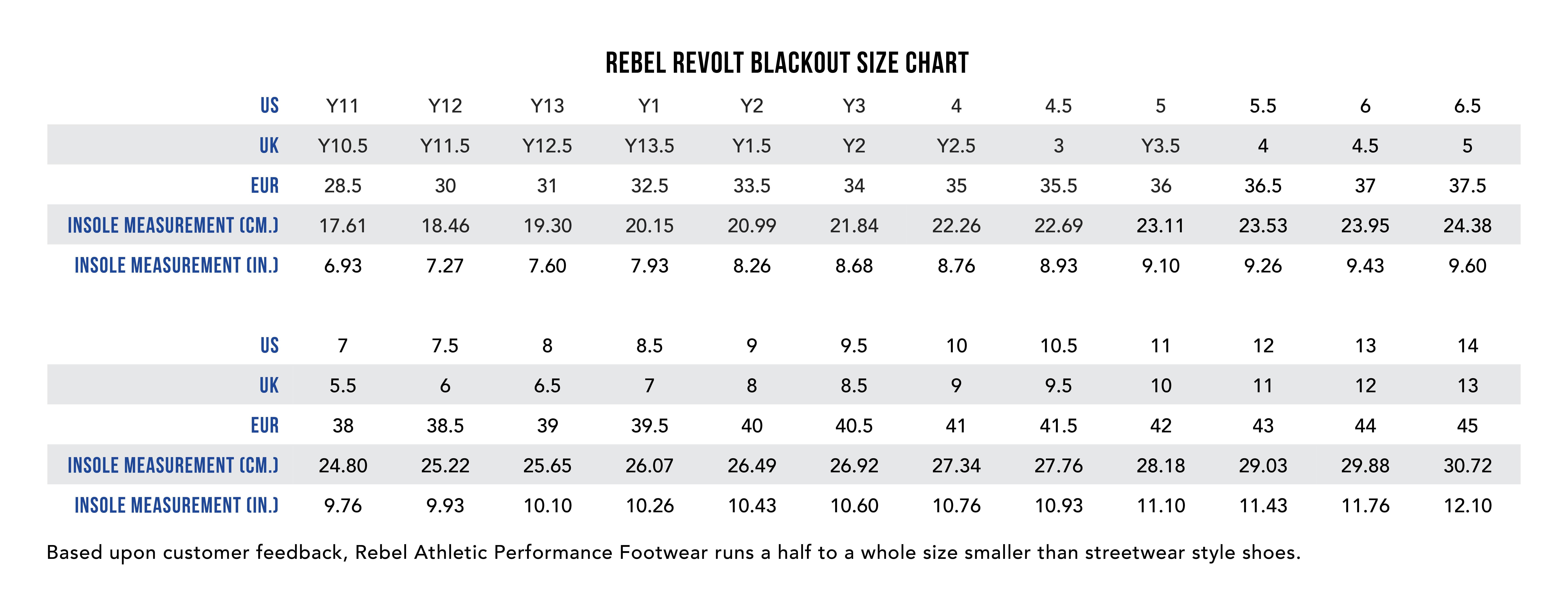 Size chart for rebel revolt blackout cheer shoes