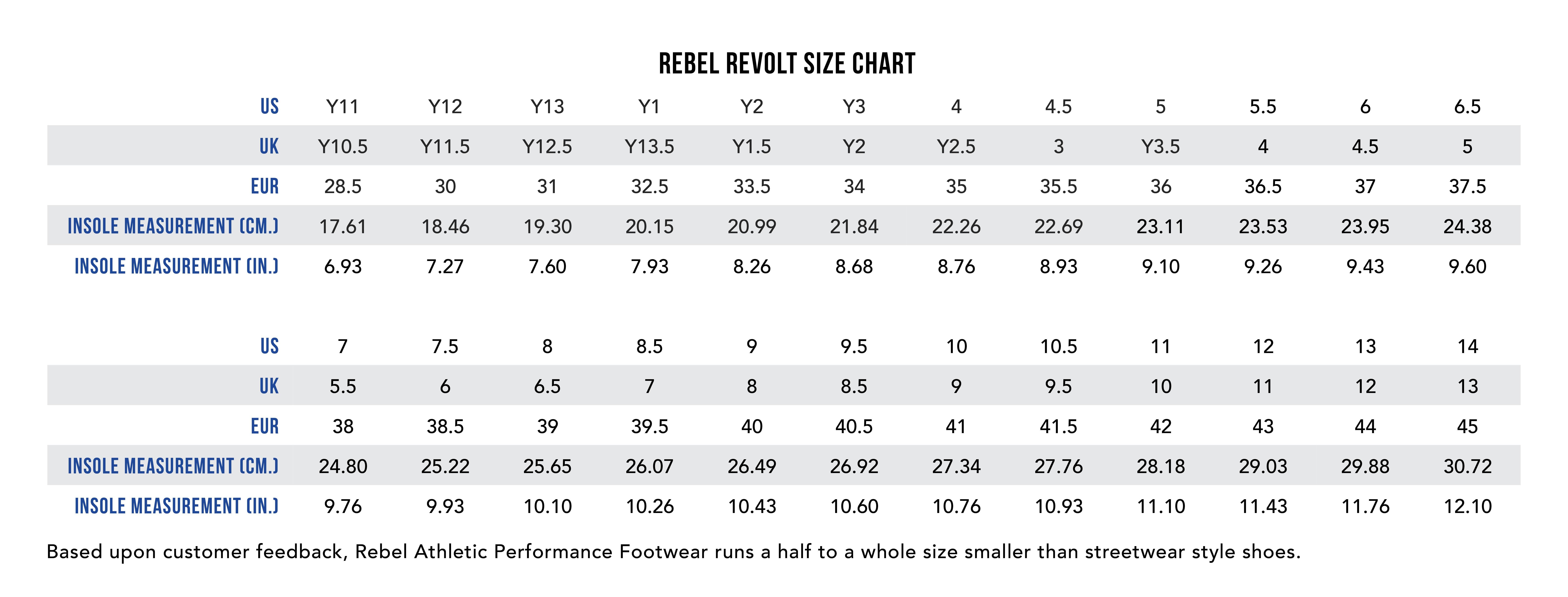 Rebel Revolt size chart