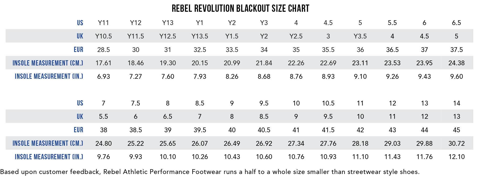 Rebel Revolution Black Cheer Shoes Size Chart