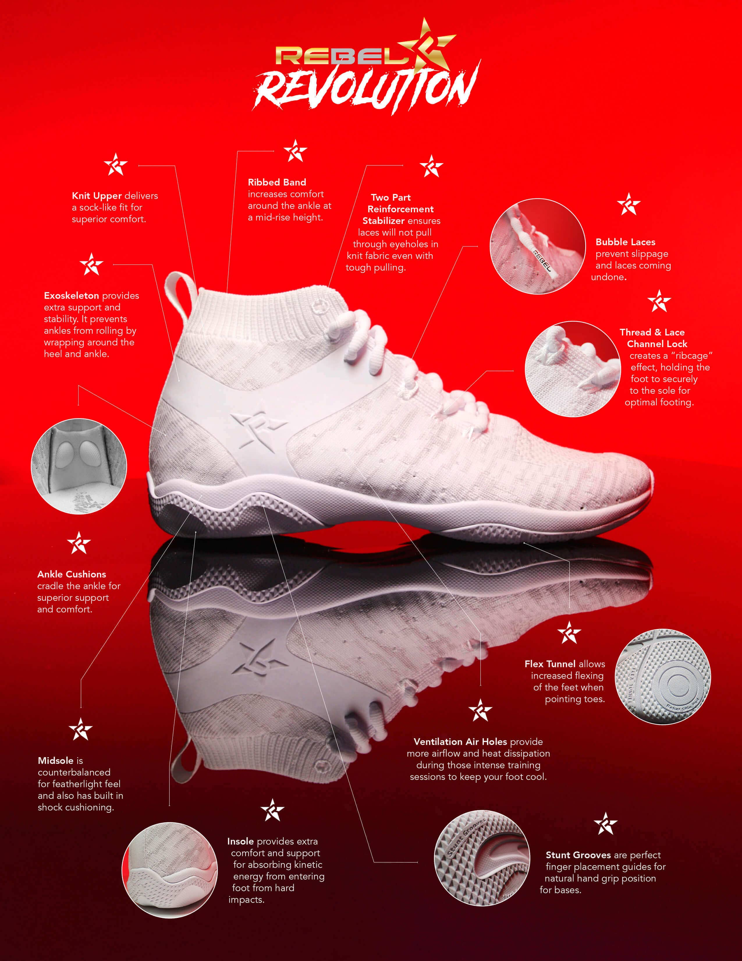 White cheer shoes key features