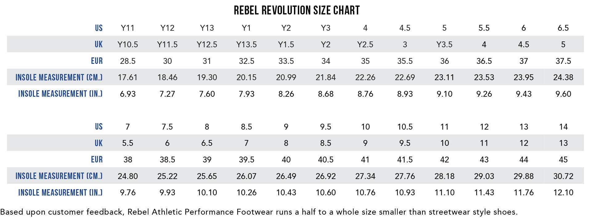 Rebel Revolution Size Chart
