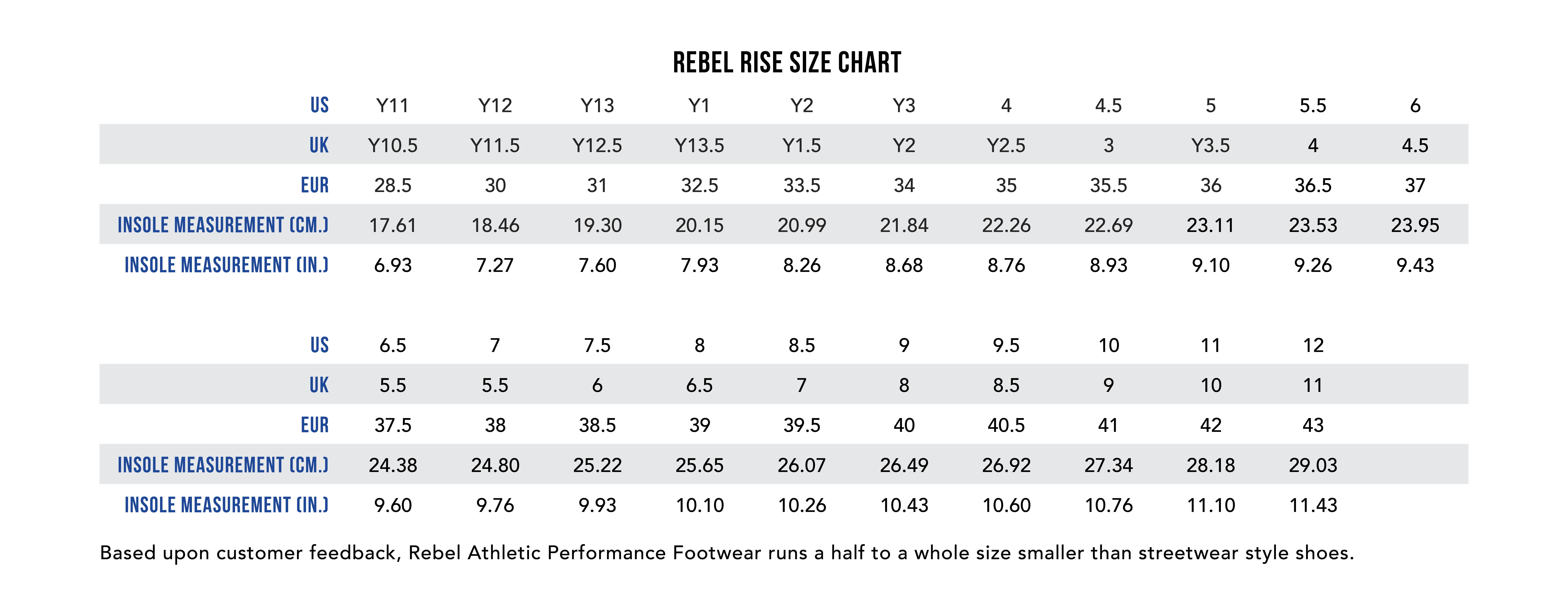 Rebel Rise cheerleading shoes size chart