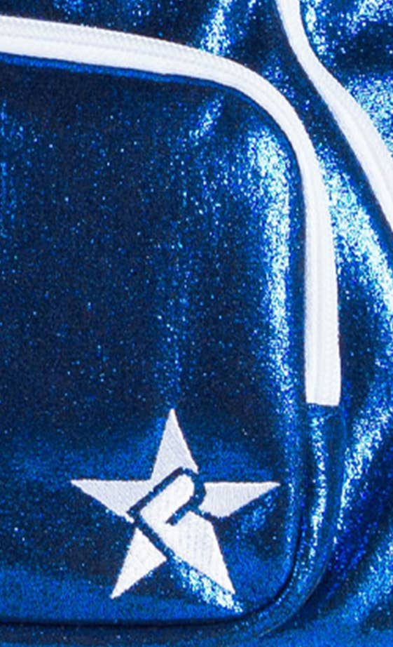 blue school bag fabric details