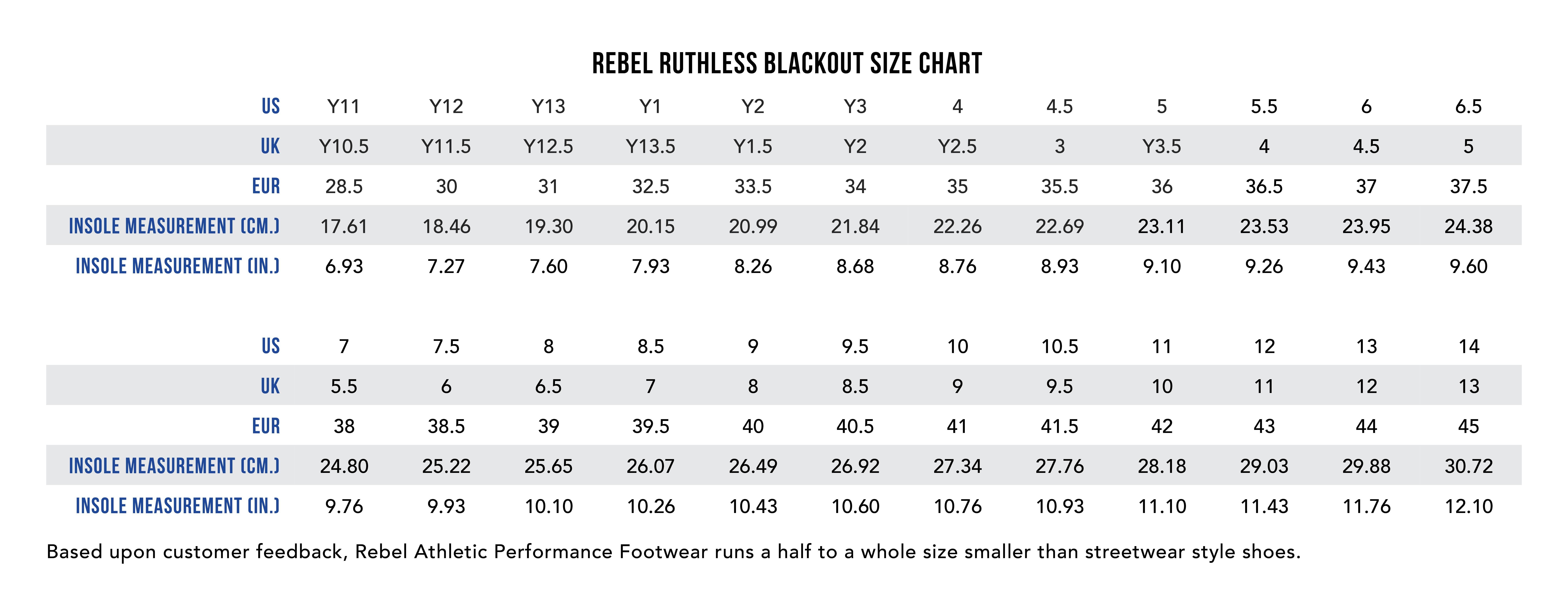 Rebel Ruthless Blackout Size Chart