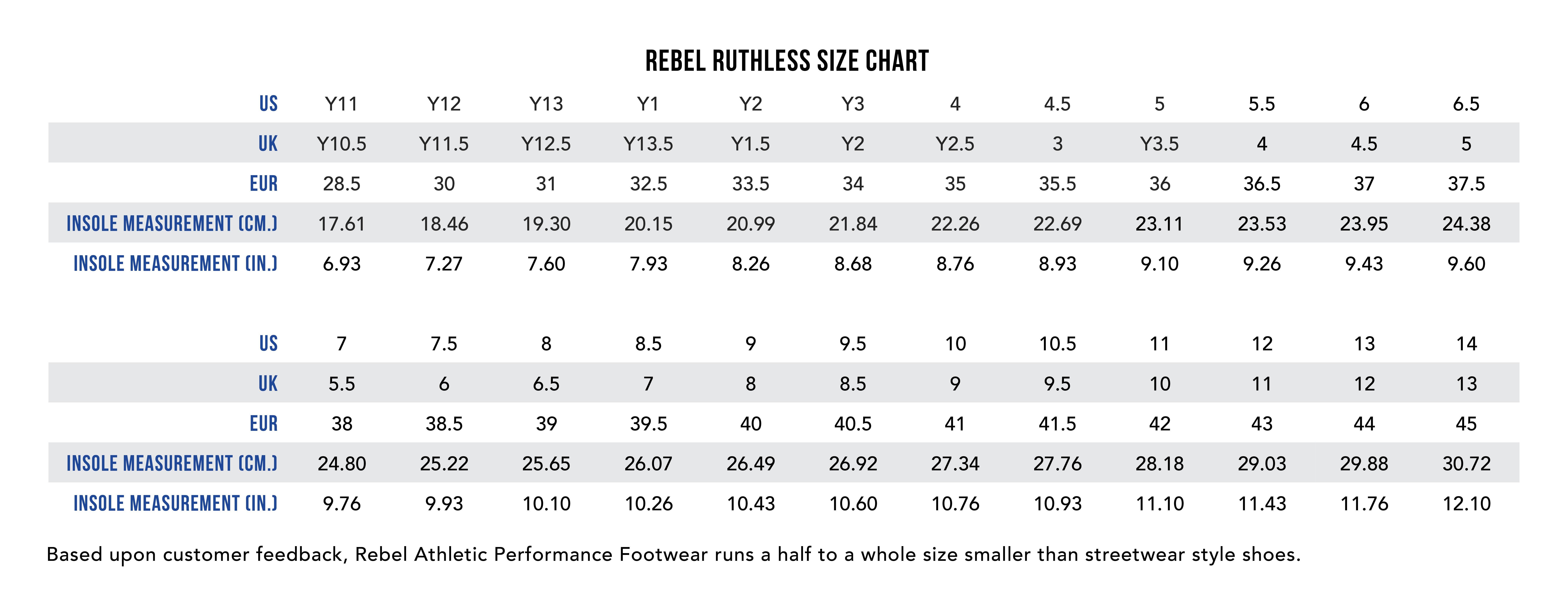 Rebel Ruthless size chart