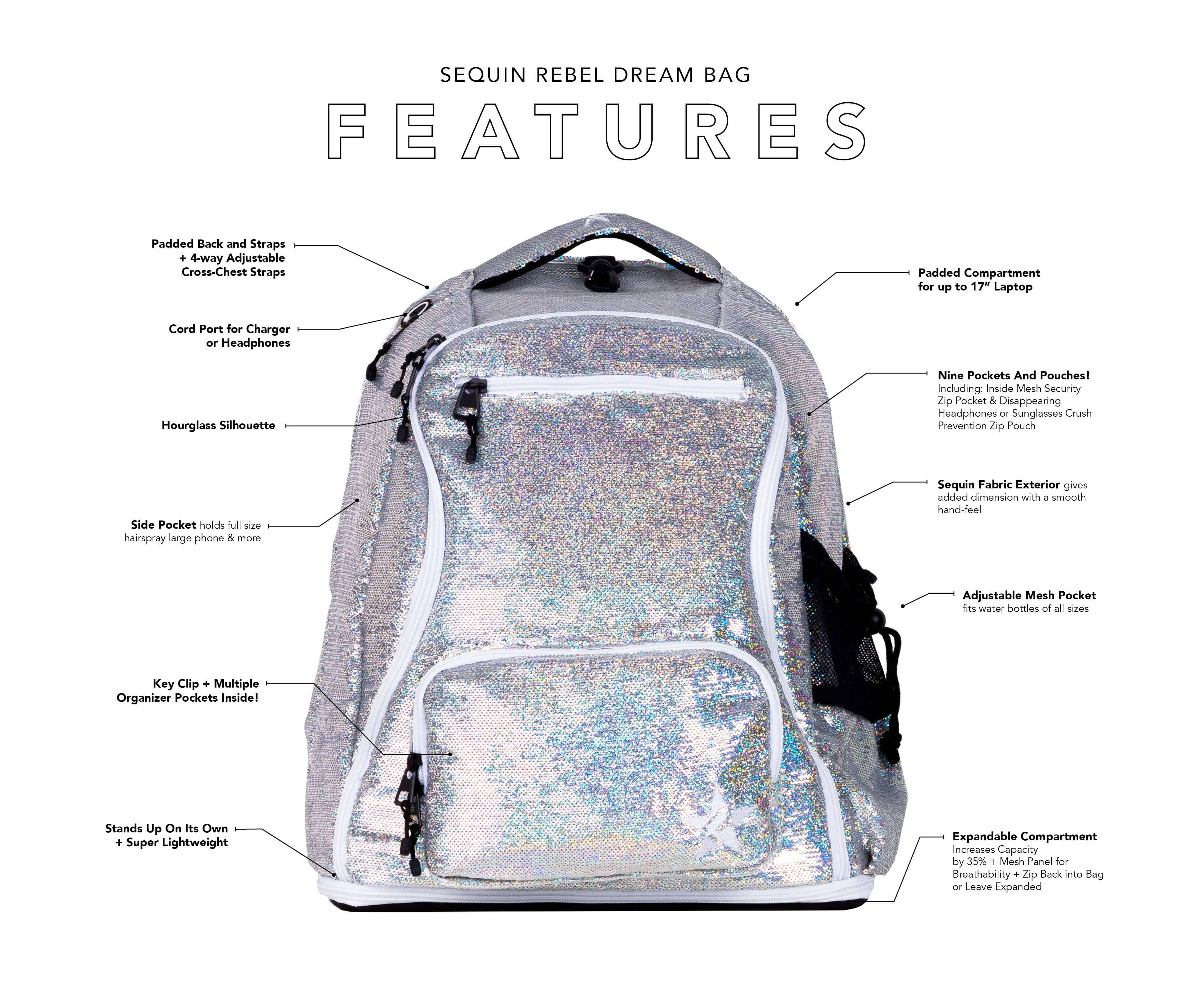 White backpack with sequin features