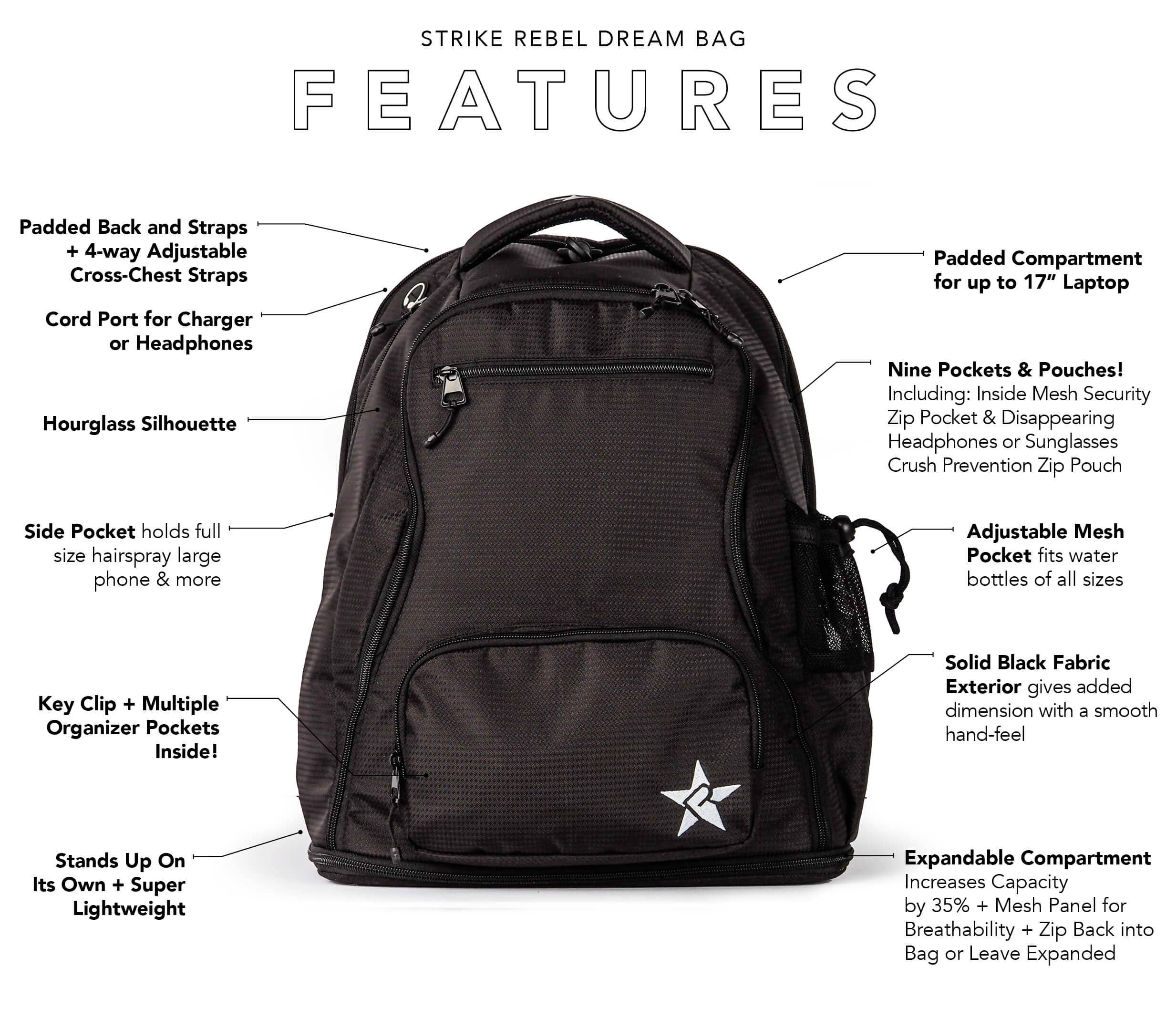 black and white backpack key features