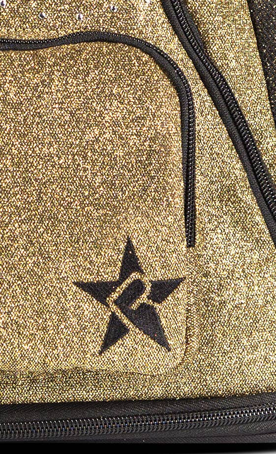 gold and black cheer bag fabric details